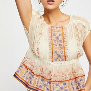 Free People All Your Feelings embroidered top